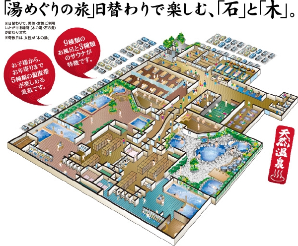 埼玉県川越「小さな旅 川越温泉」浴場説明画像