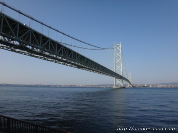 淡路島「道の駅あわじ」から見た明石海峡大橋画像