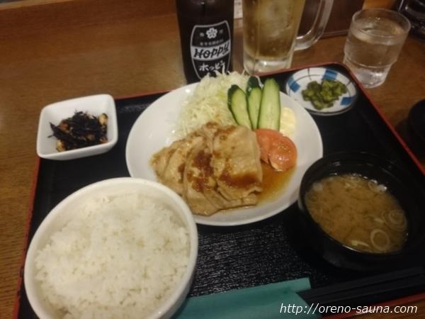 「楽天地スパ」ホッピーと生姜焼き定食画像