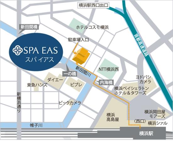 横浜「横浜天然温泉 SPA EAS(スパ イアス)」JR川崎駅送迎バス地図画像